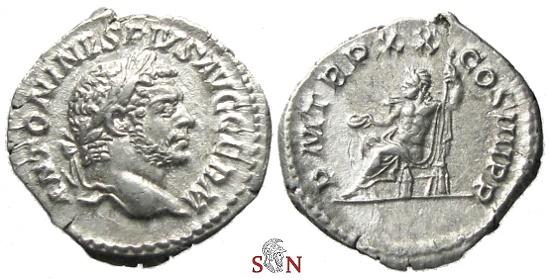 Ancient Coins - Caracalla Denarius - Jupiter seated left - RIC 287 a