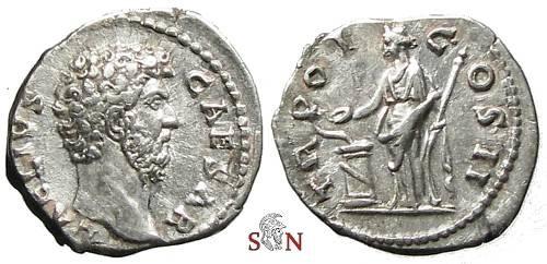 Ancient Coins - Aelius Caesar Denarius - Salus feeding snake - RIC 434