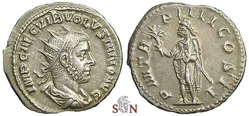 Ancient Coins - Volusianus Antoninianus - Emperor standing left - RIC 140