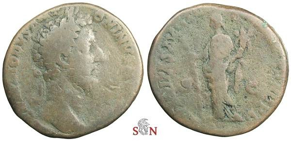 Ancient Coins - Commodus Sestertius - HILARITAS AVG with cornucopiae and palmbranch - RIC 378