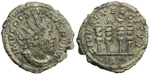 Ancient Coins - Postumus Antoninianus - Four vertical Standards - Elmer 417