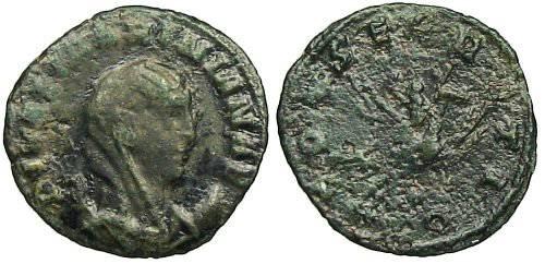 Ancient Coins - Diva Mariniana Antoninianus - Mariniana on flying peacock - RIC 6