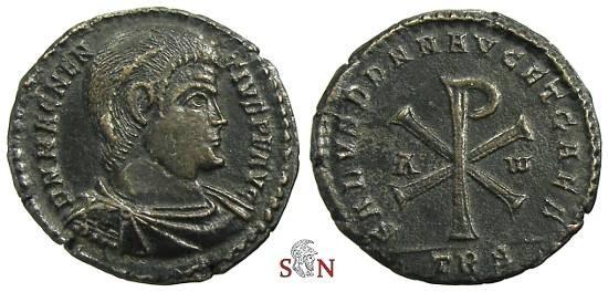 Ancient Coins - Magnentius Double Centenionalis - Christogram - Trier mint - RIC 318