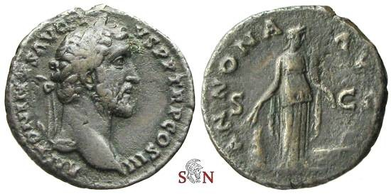 Ancient Coins - Antoninus Pius AE As - ANNONA AVG - RIC 675