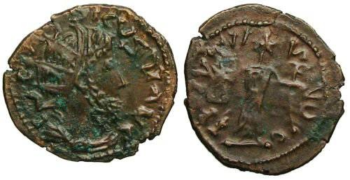 Ancient Coins - Tetricus I Local Imitation - Deity standing left - barbarous radiate