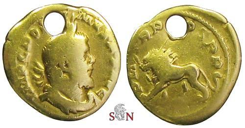 Ancient Coins - Postumus Aureus - Lion standing left with thunderbolt - Elmer 135