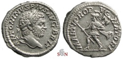 Ancient Coins - Caracalla Denarius - MARTI PROPVGNATORI - RIC 223