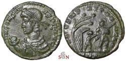 Ancient Coins - Constans Centenionalis - soldier leading small figure from a hut beneath a tree - Trier mint - RIC 221
