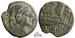 Ancient Coins - Roman Republic - Anonymous AE Quadrans - ROMA - Hercules
