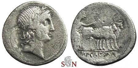 Ancient Coins - Augustus Denarius -  Octavian ploughing with yoke of oxen - RIC 272