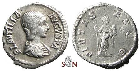 Ancient Coins - Plautilla Denarius, PIETAS AVGG - RIC 367