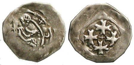 """Ancient Coins - Bernhard von Kärnten """"Friesacher Pfennig"""" - four Formy Crosses - CNA Cb13"""