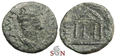 Ancient Coins - AE 17 mm - bare bust right - tetrastyle temple - Apamea mint (?)