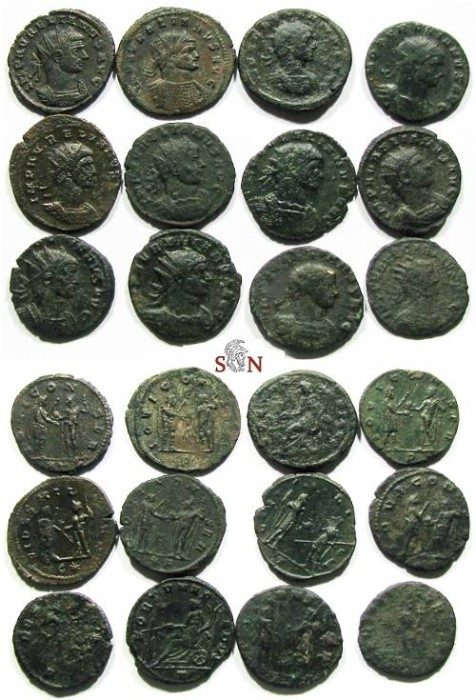 Ancient Coins - Lot of 12 Aurelianus Antoniniani - different reverses