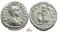 Ancient Coins - Geta Denarius - VICT AETERN - Victory flying left - RIC 23