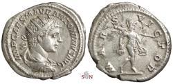 Ancient Coins - Elagabalus Antoninianus - MARS VICTOR - RIC 123