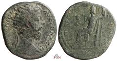 Ancient Coins - Marcus Aurelius Dupondius - Jupiter seated left - RIC 1065