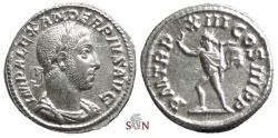 Ancient Coins - Severus Alexander Denarius - Sol advancing left - RIC 123