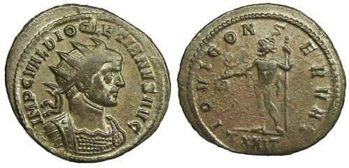 Ancient Coins - Diocletianus Antoninianus - IOVI CONSERVAT - Ticinum mint - RIC 225