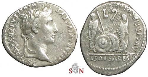 Ancient Coins - Augustus Denarius - Gaius and Lucius reverse - RIC 207