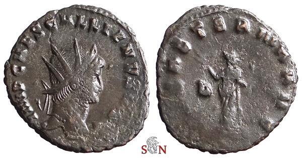 Ancient Coins - Gallienus Antoninianus - IMP CAES GALLIENVS AVG - Pax stg. left - Goebl 678 w2