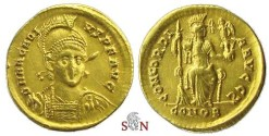 Ancient Coins - Arcadius Solidus - Constantinopolis seated - Ex NAC 1994, Steinberg collection