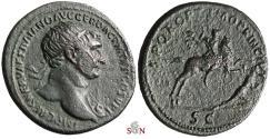 Ancient Coins - Trajanus Dupondius - Trajan on horseback spearing fallen Dacian - RIC 538