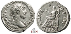 Ancient Coins - Hadrianus denarius - Felicitas seated left - RIC 120