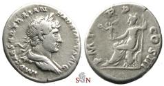 Ancient Coins - Hadrianus Denarius - Roma seated left - RIC 77c