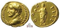 Ancient Coins - Antoninus Pius Aureus - COS IIII - Emperor stg. left - RIC 226 e