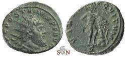 Ancient Coins - Postumus Antoninianus - struck under Aureolus - VIRTVS EQVITVM - Rare - Elmer 619