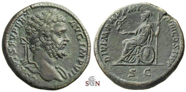 Ancient Coins - Septimius Severus Sestertius - Roma seated left - RIC 702a