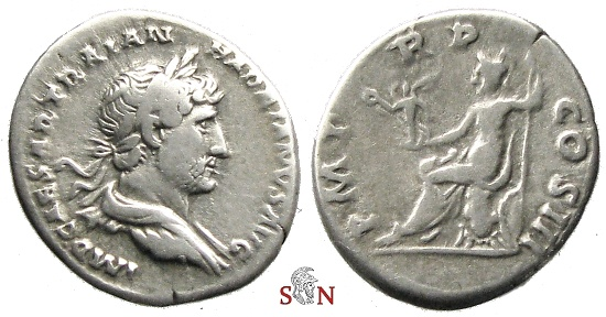 Ancient Coins - Hadrianus Denarius - Roma seated left - RIC 77c