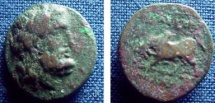 466GREEK) TRALLES, IN LYDIA; CIRCA 2ND-1ST CENT BC, AE15 MM, 2.3 GRAMS, LAUREATE HEAD OF ZEUS RIGHT; REV. HUMPED BULL BUTTING LEFT, MONOGRAM, BETWEEN LEGS; FINE