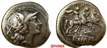 922GL17) Anonymous. 209-208 BC. AR Denarius (20 mm, 3.50 g). Helmeted head of Roma right; X (mark of value) behind / Dioscuri, each holding spear, on horseback riding right; dolph