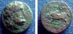 Ancient Coins - 466GREEK) TRALLES, IN LYDIA; CIRCA 2ND-1ST CENT BC, AE15 MM, 2.3 GRAMS, LAUREATE HEAD OF ZEUS RIGHT; REV. HUMPED BULL BUTTING LEFT, MONOGRAM, BETWEEN LEGS; FINE