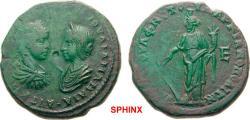 Ancient Coins - 6AK8FM) MOESIA INFERIOR Marcianopolis Severus Alexander AD 222-235. Bronze (AE; 26-27mm; 11.97g; 6h) AVT K M [AVP CEVH –   AΛEZANΔP]OC IOVΛIA MAMAIA Draped busts of Severus Alexand