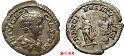 Ancient Coins - 277FR0Z) Geta. As Caesar, AD 198-209. AR Denarius (19.5mm, 3.34 gRMS). Rome mint. Bareheaded and draped bust right / PRINC IVVENTVTIS, Geta, in military dress, standing left, holdi