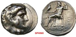Ancient Coins - 5103) THE SELEUCID EMPIRE, SELEUCOS I NIKATOR, 312-280 BC, AR TETRADRACHM, type of Alexander the Great as Herakles; Obv. head of young Heracles right, clad in lion's skin, ; Rev. Z