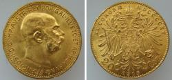 World Coins - 191239-M) AUSTRIA: Franz Joseph I,  AV 20 Corona, 1915,  191239-M) AUSTRIA: Franz Joseph I,  AV 20 Corona, 1915, (6.78g, 21.1mm), KM #2818, UNC+, lovely strike, Obv: A right facing