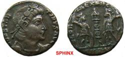 Ancient Coins - 612RM6) Constantine II (337-348 AD) AE3, 1.77 grms, 15 mm, Antioch mint; Obverse: CONSTANTINVS AVG, Rosette-diademed, draped, cuirassed bust right.Reverse: GLOR-IA EXERC-ITVS,