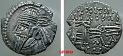 Ancient Coins - 804CEH8) PARTHIA, OSROES II, 190 AD AR DRACHM, 3.38 GRAMS, OBLONG FLAN, SELLWOOD TYPE 85.1 MINTED IN ECBATANA; IN VF CONDITION SCARCE.