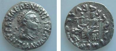 Ancient Coins - 911RLS) Antialkidas. Circa 115-95 BC.AR DRACHM, Diademed and draped bust right / Zeus seated half-left, holding Nike, who holds wreath, and sceptre; elephant forepart facing right,