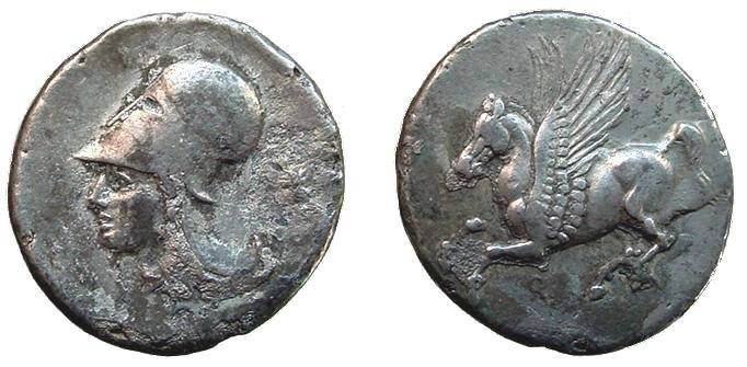 Ancient Coins - 1150CRB) Corinthia, Corinth,  circa 345-307 BC,  AR Stater 8.18 grms, Pegasus flying left  symbol below front leg; Reverse.Bust of Athena right wearing Corinthian helmet, FINE;