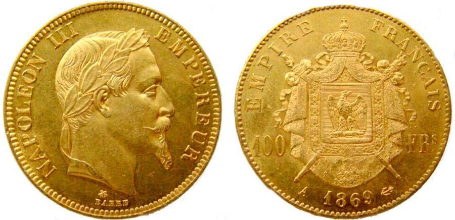 World Coins - 191081-M) FRANCE: AV 100 Francs, 1869A, Ruler: Napoleon III