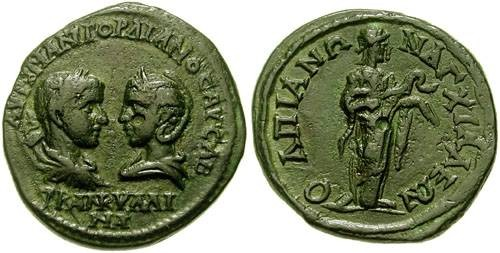 Ancient Coins - THRACE, Anchialus. Gordian III and Tranquillina. 241-244 AD. Æ 26mm (11.73 gm).