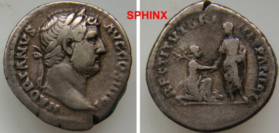 Ancient Coins - 331KE5) Hadrian. AD 117-138. AR Denarius (17.5 mm, 3.08 g, 6h). Travel series. Rome mint. Struck circa AD 134-138. HADRIANVS AVG COS III P P, laureate head right / RARE