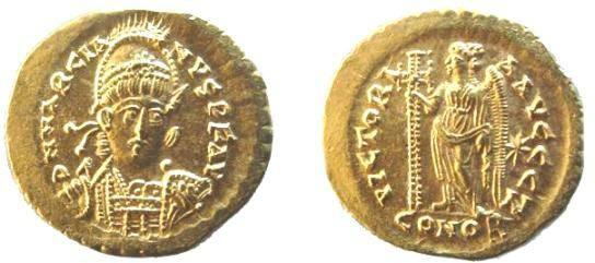 Ancient Coins - 228FFB) MARCIAN, 450-457 AD, AV SOLIDUS, 4.48 GRAMS, OBV. DNMARCIANVSPFAVG /  REV. VICTORIAAVCCCZ, STAR IN RIGHT FIELD, CONOB IN EXERGUE, MINT OF CONSTANTINOPLE, BERK # 23, VF+