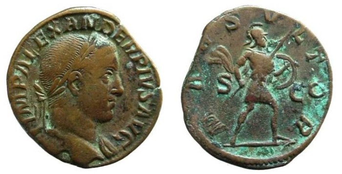 Ancient Coins - 1231HB) SEVERUS ALEXANDER, 222-235 AD, AE SESTERTIUS, 27 X 30 MM, 19.32 GRMS, CIRCA 232-235 AD, OBV. IMP ALEXANDER PIVS AVG, laureate and draped bust right, REV. mars vltor, SC ACR