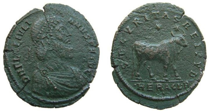 Ancient Coins - 851GM) JULIAN II The Apostate, 361-363 A.D. AE Follis, 27.5 X 32.5 MM,  8.12 GRMS, minted in HERACLEA 361-363 AD,    OBV. Laureate Julian II right, FINE+